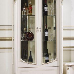Витрина 2-дверная Афина (Afina) белая с жемчугом