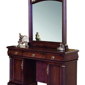 """9901. Туалетный столик с зеркалом+ банкетка ТКАНЬ """"Нотти"""" (122х50х182 см) цвет: Тёмный орех"""