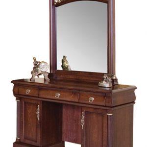 """9901. Туалетный столик с зеркалом+ банкетка ЭКОКОЖА """"Нотти"""" (122х50х182 см) цвет: Тёмный орех"""