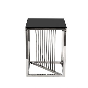 13RXET8083M-SILVER Стол журнальный стекло черн/серебро 38*38*50