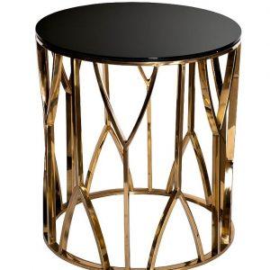 13RXET3103-GOLD Стол журнальный стекло черн./золото d50*55см